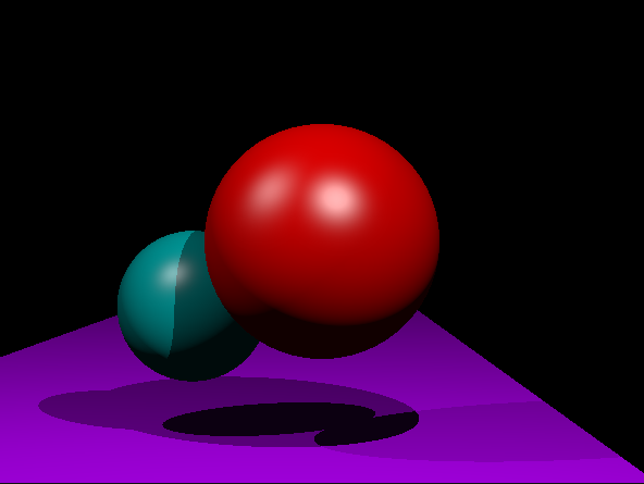 The following adds a second light source to the above scene with an extra light to the left. This second light is only 40% intensity. Note that this model is still not quite ideal; there should never be a specular highlight within a shadow. In this rendering, the shadow edge from the larger sphere passes right over the specular highlight of the smaller sphere