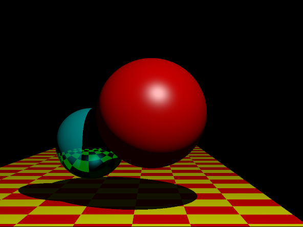 This adds ray tracing with recursion, a perfect specular BRDF and a reflective material