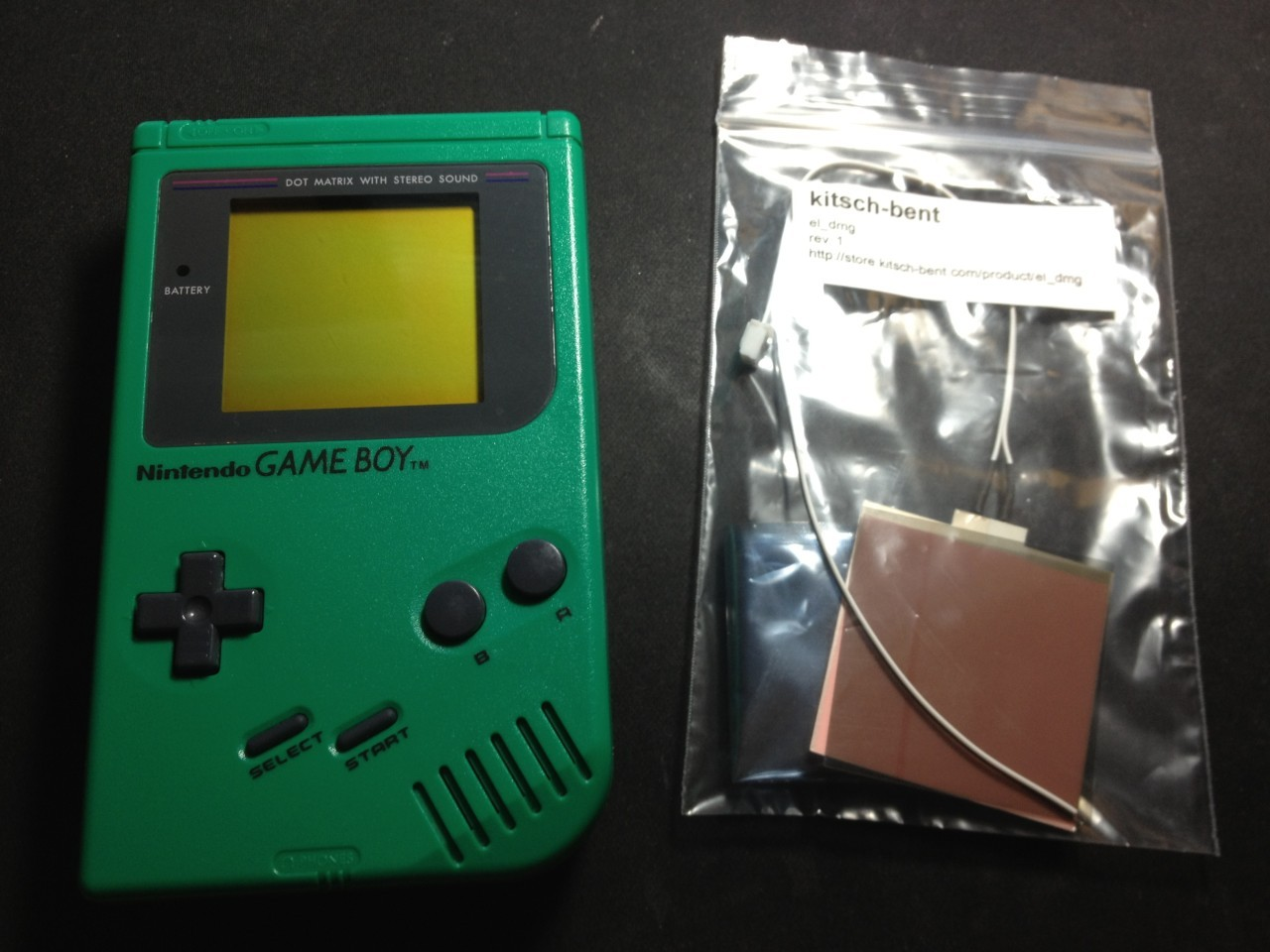 The gameboy and a white backlight from kitsch-bent.com